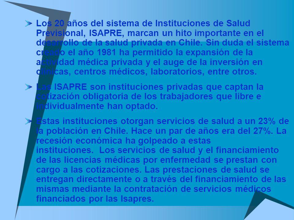 Los 20 años del sistema de Instituciones de Salud Previsional, ISAPRE, marcan un hito importante en el desarrollo de la salud privada en Chile. Sin du