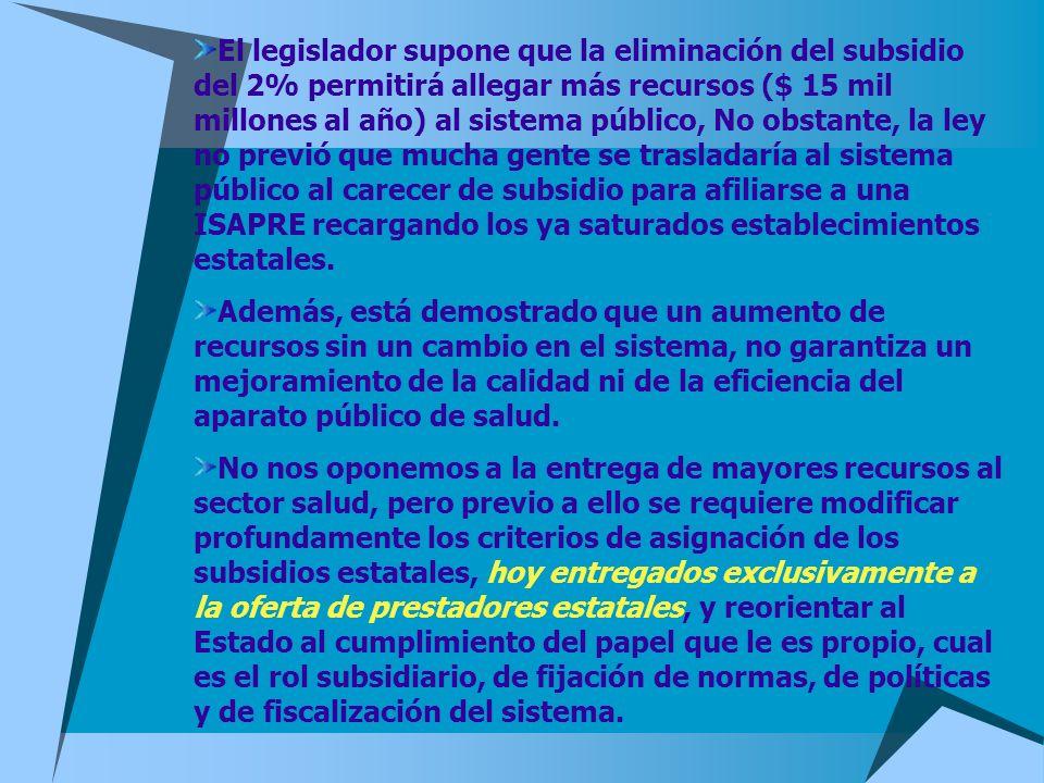 El legislador supone que la eliminación del subsidio del 2% permitirá allegar más recursos ($ 15 mil millones al año) al sistema público, No obstante,