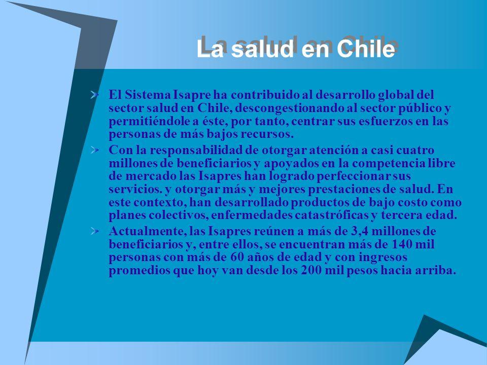 La salud en Chile El Sistema Isapre ha contribuido al desarrollo global del sector salud en Chile, descongestionando al sector público y permitiéndole
