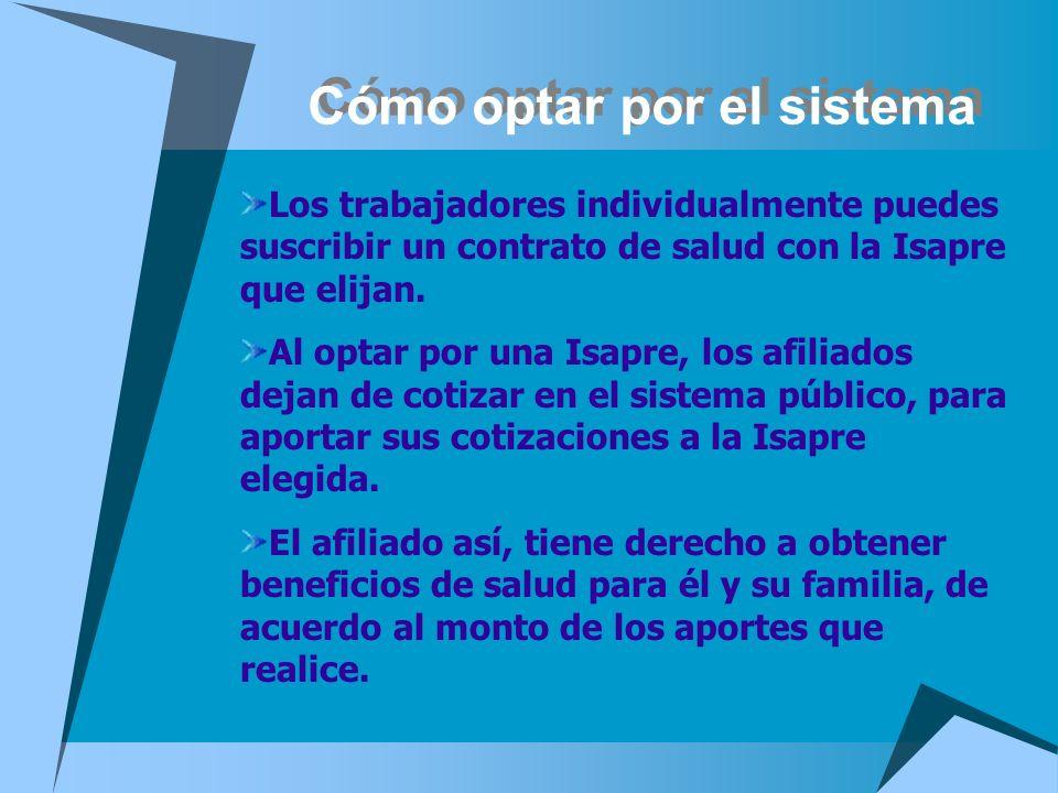 Cómo optar por el sistema Los trabajadores individualmente puedes suscribir un contrato de salud con la Isapre que elijan. Al optar por una Isapre, lo