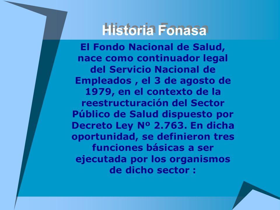 Historia Fonasa El Fondo Nacional de Salud, nace como continuador legal del Servicio Nacional de Empleados, el 3 de agosto de 1979, en el contexto de