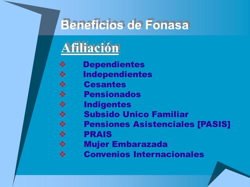 Beneficios de Fonasa Afiliación Dependientes Independientes Cesantes Pensionados Indigentes Subsido Unico Familiar Pensiones Asistenciales [PASIS] PRA