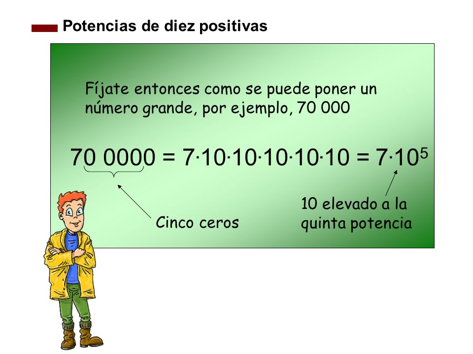 Potencias de diez positivas 70 0000 = 7. 10. 10. 10. 10. 10 = 7. 10 5 Cinco ceros Fíjate entonces como se puede poner un número grande, por ejemplo, 7