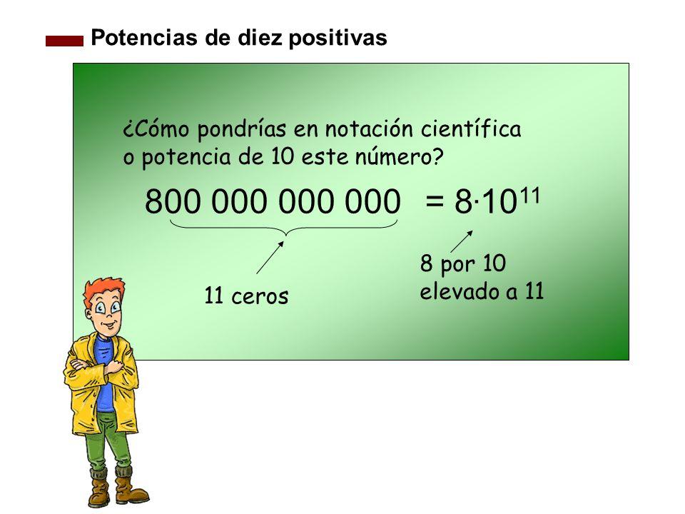 Potencias de diez positivas 800 000 000 000 11 ceros ¿Cómo pondrías en notación científica o potencia de 10 este número? 8 por 10 elevado a 11 = 8. 10