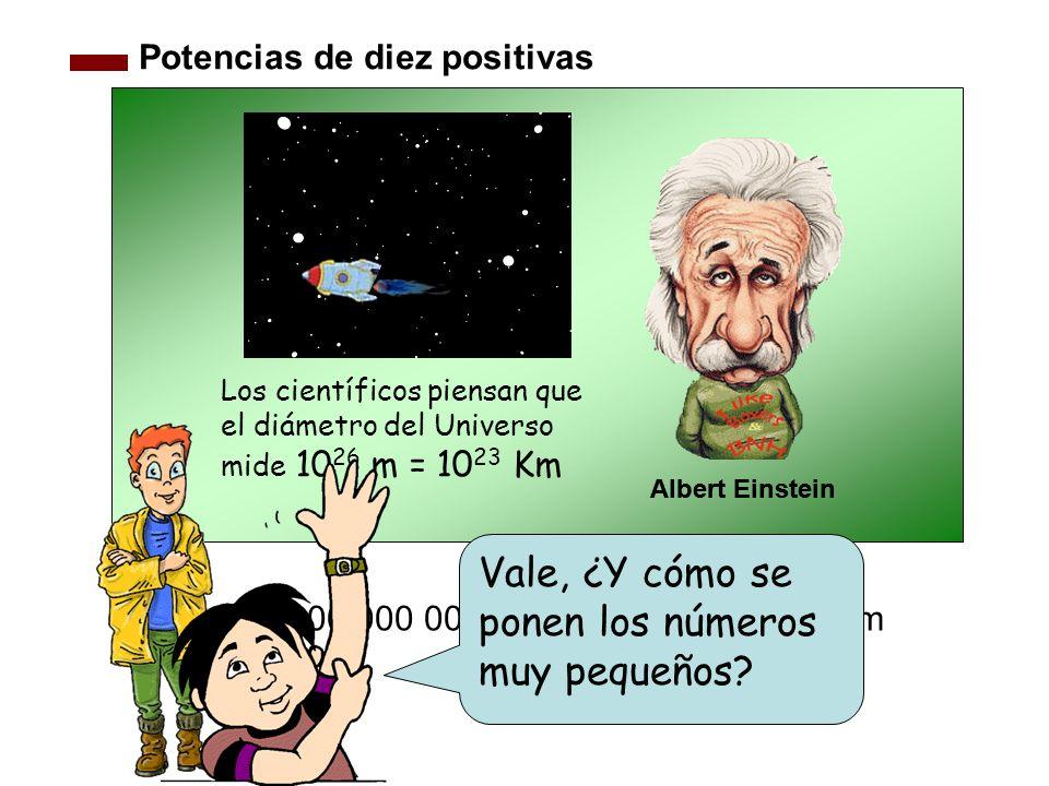 Potencias de diez positivas Los científicos piensan que el diámetro del Universo mide 10 26 m = 10 23 Km 100 000 000 000 000 000 000 000 Km Albert Ein