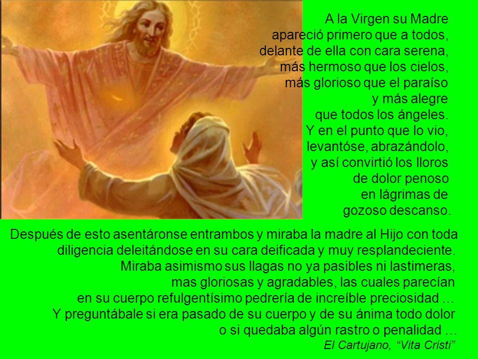 Cristo se apareció a Su Madre no para demostrarle que El había vencido a la muerte sino para ofrecerle la gloria de contemplarlo.