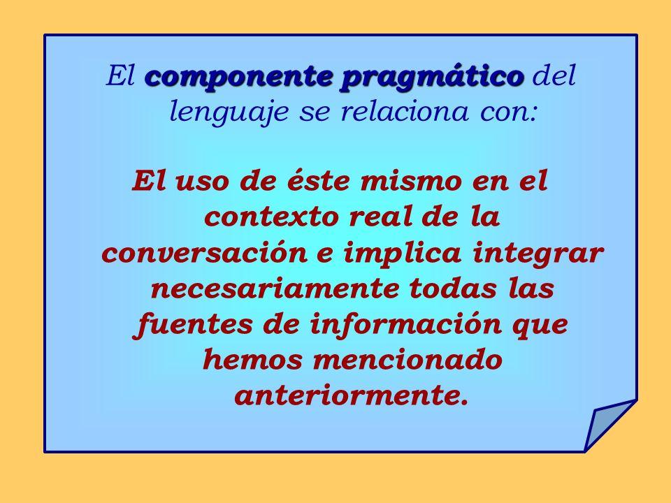 componente pragmático El componente pragmático del lenguaje se relaciona con: El uso de éste mismo en el contexto real de la conversación e implica in