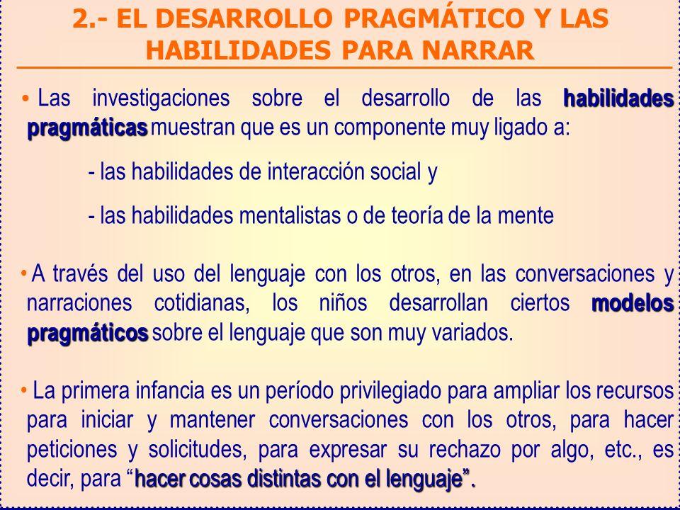 2.- EL DESARROLLO PRAGMÁTICO Y LAS HABILIDADES PARA NARRAR habilidades pragmáticas Las investigaciones sobre el desarrollo de las habilidades pragmáti