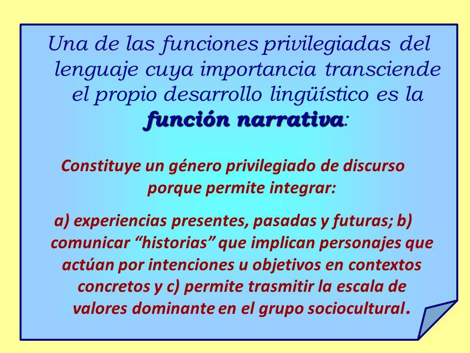 función narrativa Una de las funciones privilegiadas del lenguaje cuya importancia transciende el propio desarrollo lingüístico es la función narrativ
