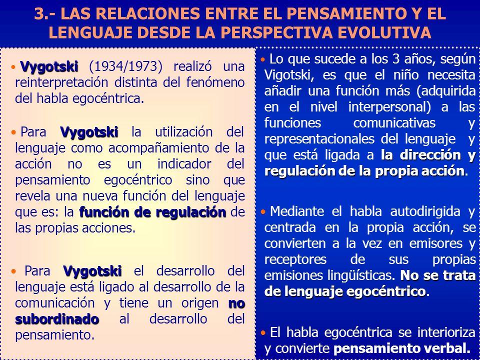 3.- LAS RELACIONES ENTRE EL PENSAMIENTO Y EL LENGUAJE DESDE LA PERSPECTIVA EVOLUTIVA la dirección y regulación de la propia acción Lo que sucede a los