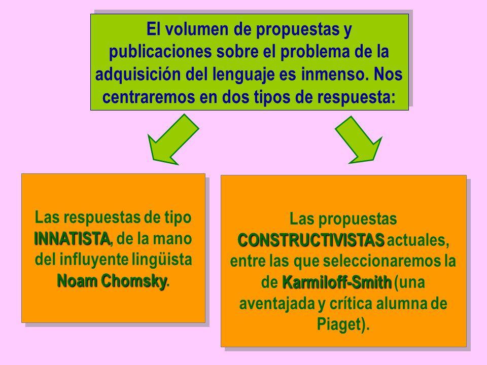 El volumen de propuestas y publicaciones sobre el problema de la adquisición del lenguaje es inmenso. Nos centraremos en dos tipos de respuesta: INNAT