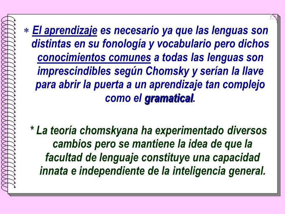 E l aprendizaje es necesario ya que las lenguas son distintas en su fonología y vocabulario pero dichos conocimientos comunes a todas las lenguas son imprescindibles según Chomsky y serían la llave para abrir la puerta a un aprendizaje tan complejo como el g gg gramatical.