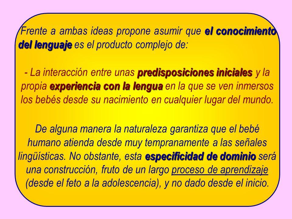 el conocimiento del lenguaje Frente a ambas ideas propone asumir que el conocimiento del lenguaje es el producto complejo de: predisposiciones inicial