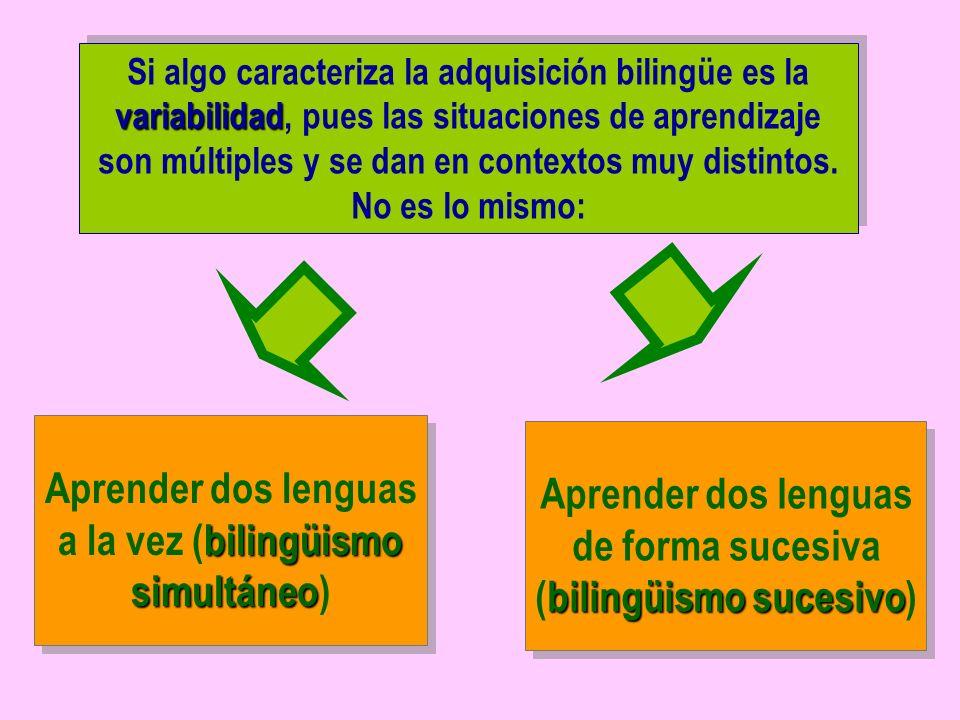 variabilidad Si algo caracteriza la adquisición bilingüe es la variabilidad, pues las situaciones de aprendizaje son múltiples y se dan en contextos muy distintos.
