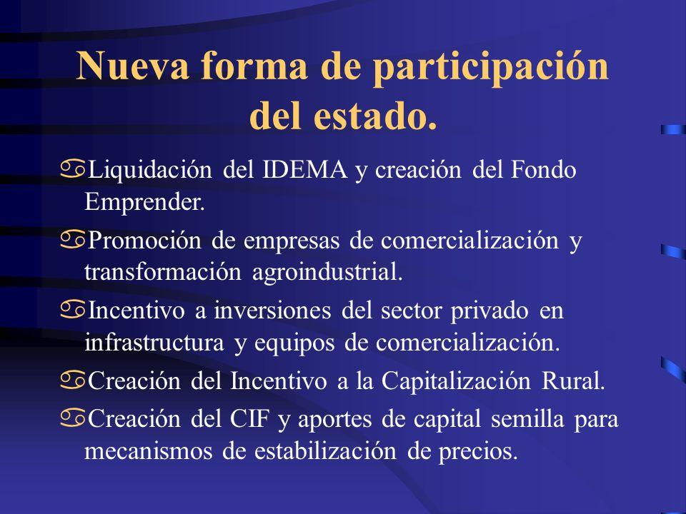 Nueva forma de participación del estado. Liquidación del IDEMA y creación del Fondo Emprender. Promoción de empresas de comercialización y transformac
