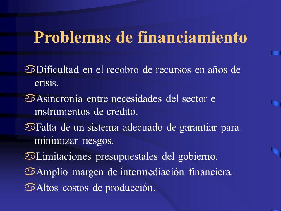 Problemas de financiamiento Dificultad en el recobro de recursos en años de crisis. Asincronía entre necesidades del sector e instrumentos de crédito.