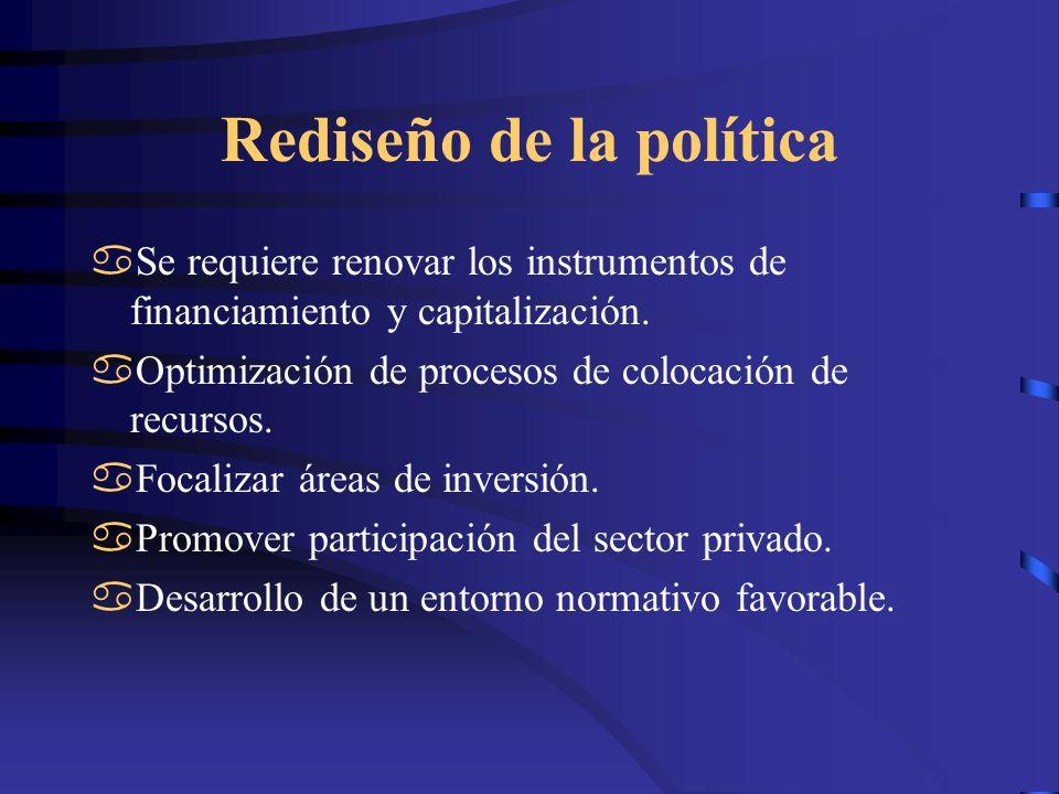 Rediseño de la política Se requiere renovar los instrumentos de financiamiento y capitalización. Optimización de procesos de colocación de recursos. F