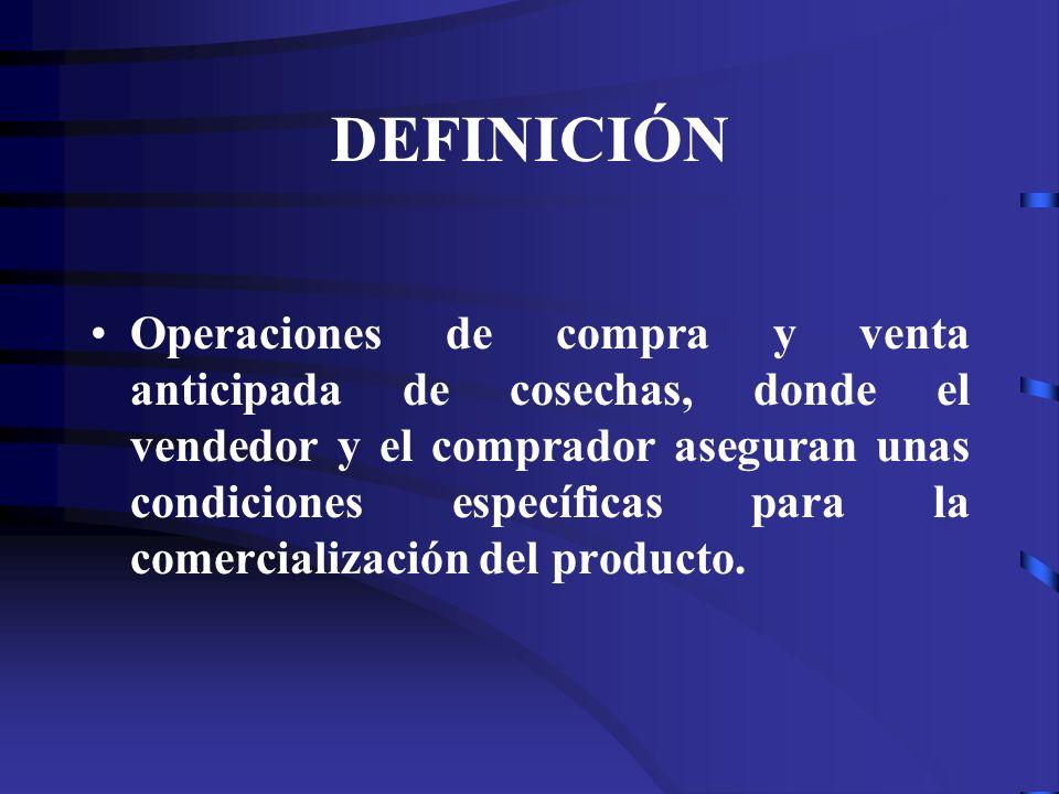 DEFINICIÓN Operaciones de compra y venta anticipada de cosechas, donde el vendedor y el comprador aseguran unas condiciones específicas para la comerc