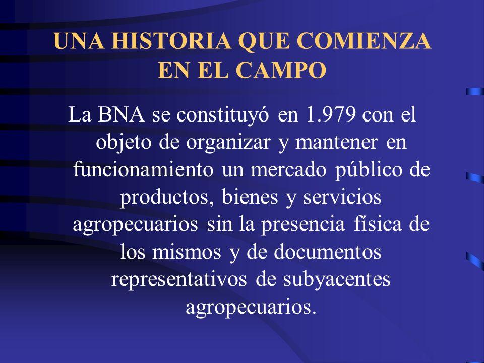 UNA HISTORIA QUE COMIENZA EN EL CAMPO La BNA se constituyó en 1.979 con el objeto de organizar y mantener en funcionamiento un mercado público de prod