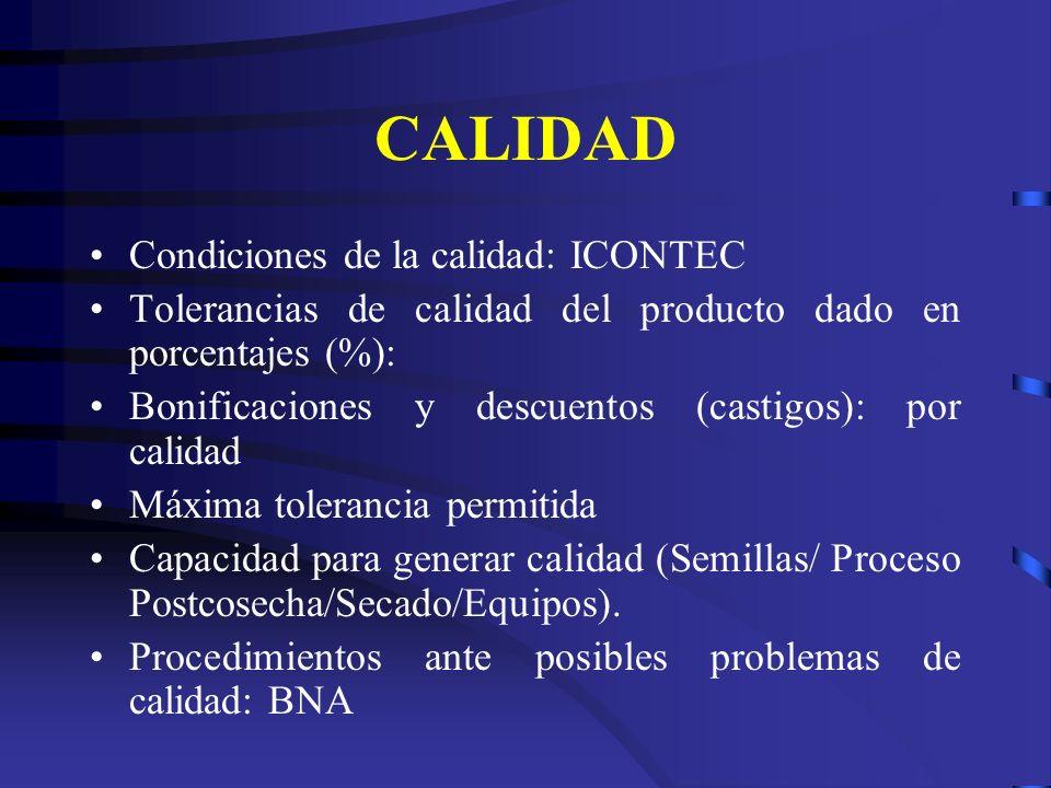CALIDAD Condiciones de la calidad: ICONTEC Tolerancias de calidad del producto dado en porcentajes (%): Bonificaciones y descuentos (castigos): por ca