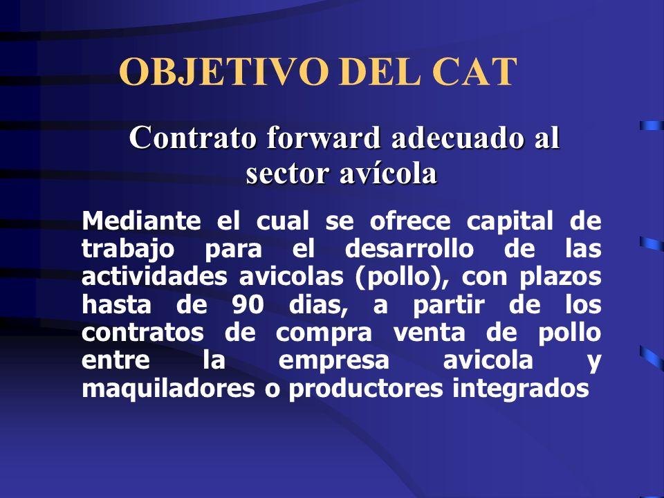 OBJETIVO DEL CAT Contrato forward adecuado al sector avícola Contrato forward adecuado al sector avícola Mediante el cual se ofrece capital de trabajo