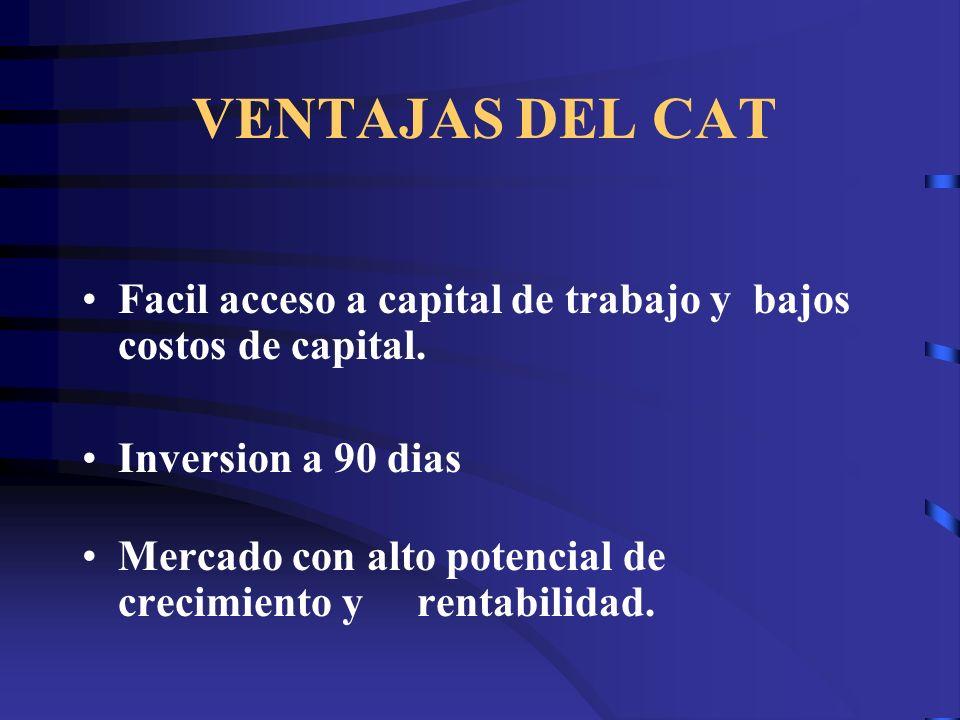 VENTAJAS DEL CAT Facil acceso a capital de trabajo y bajos costos de capital. Inversion a 90 dias Mercado con alto potencial de crecimiento y rentabil