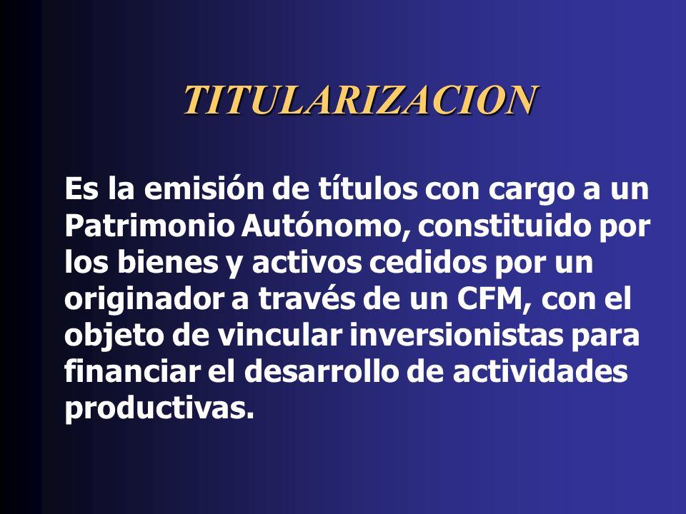 TITULARIZACION Es la emisión de títulos con cargo a un Patrimonio Autónomo, constituido por los bienes y activos cedidos por un originador a través de