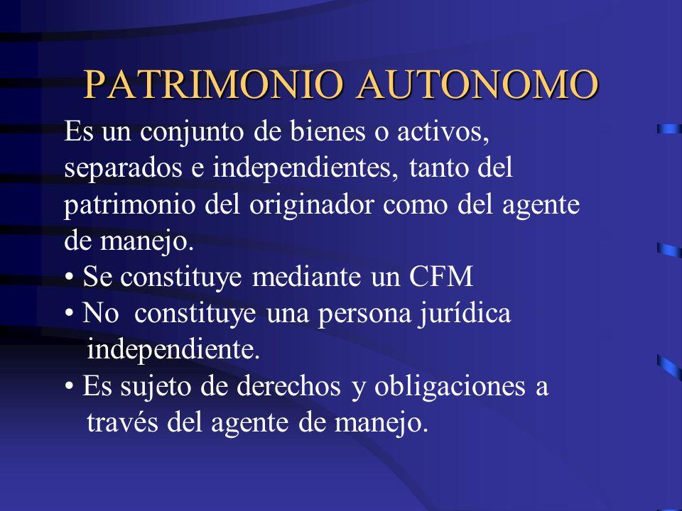 PATRIMONIO AUTONOMO Es un conjunto de bienes o activos, separados e independientes, tanto del patrimonio del originador como del agente de manejo. Se