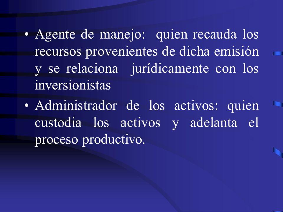 Agente de manejo: quien recauda los recursos provenientes de dicha emisión y se relaciona jurídicamente con los inversionistas Administrador de los ac
