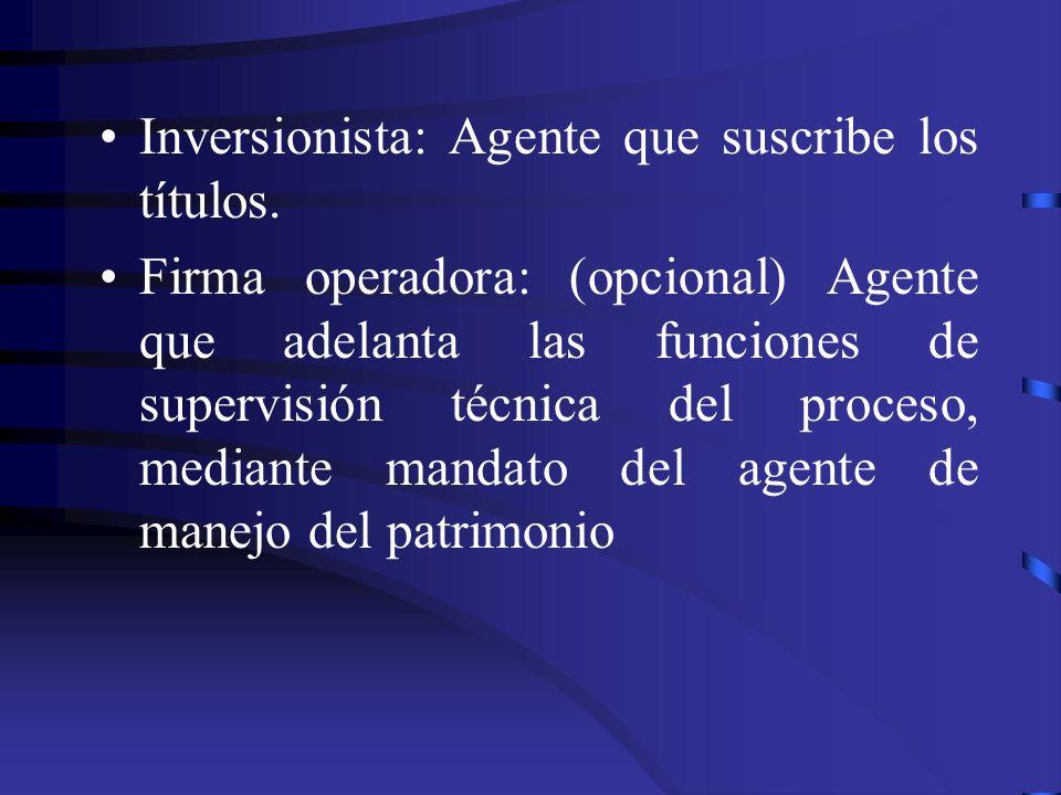 Inversionista: Agente que suscribe los títulos. Firma operadora: (opcional) Agente que adelanta las funciones de supervisión técnica del proceso, medi
