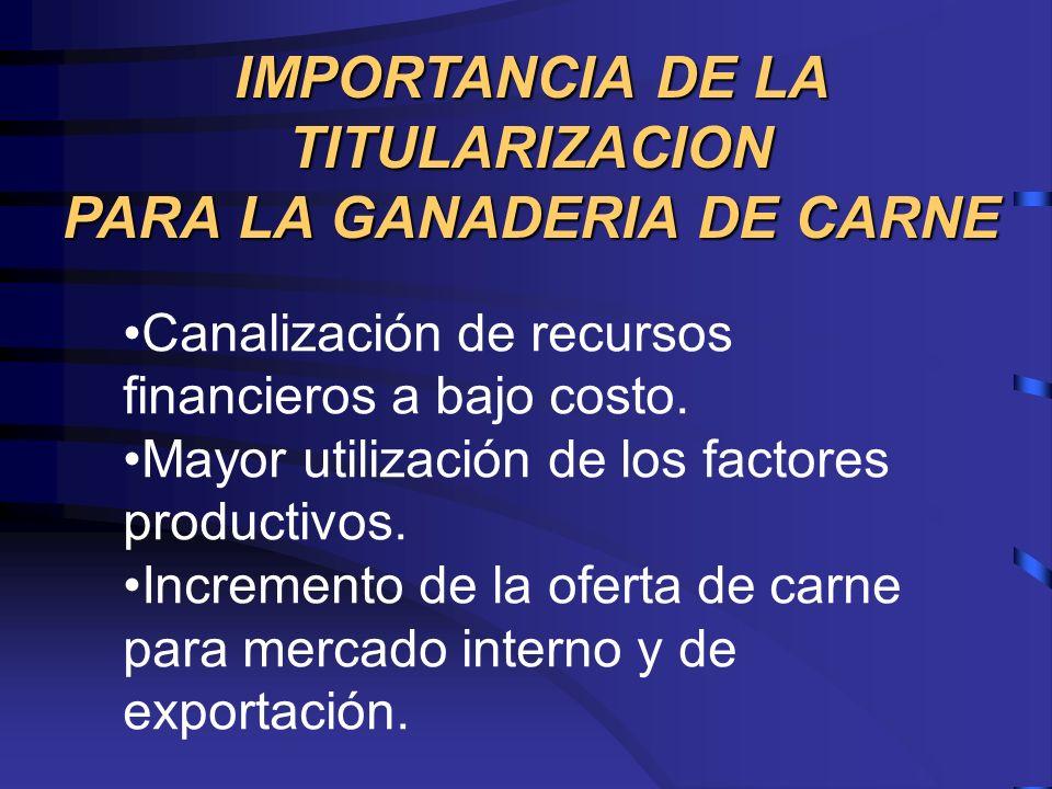 IMPORTANCIA DE LA TITULARIZACION PARA LA GANADERIA DE CARNE Canalización de recursos financieros a bajo costo. Mayor utilización de los factores produ