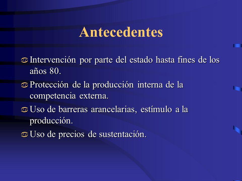 Antecedentes Intervención por parte del estado hasta fines de los años 80. Intervención por parte del estado hasta fines de los años 80. Protección de