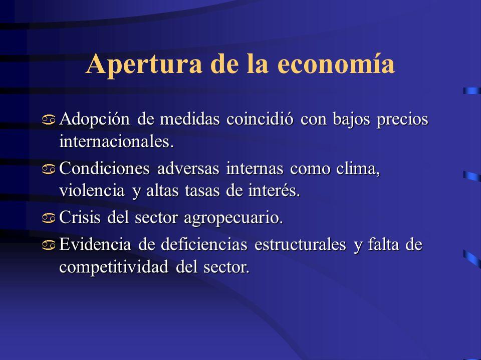 Apertura de la economía Adopción de medidas coincidió con bajos precios internacionales. Adopción de medidas coincidió con bajos precios internacional