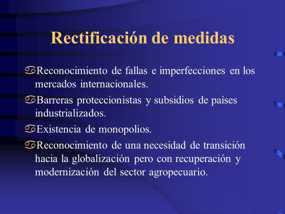 Rectificación de medidas Reconocimiento de fallas e imperfecciones en los mercados internacionales. Barreras proteccionistas y subsidios de países ind