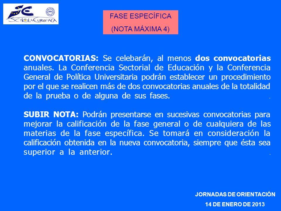 CONVOCATORIAS: Se celebarán, al menos dos convocatorias anuales. La Conferencia Sectorial de Educación y la Conferencia General de Política Universita