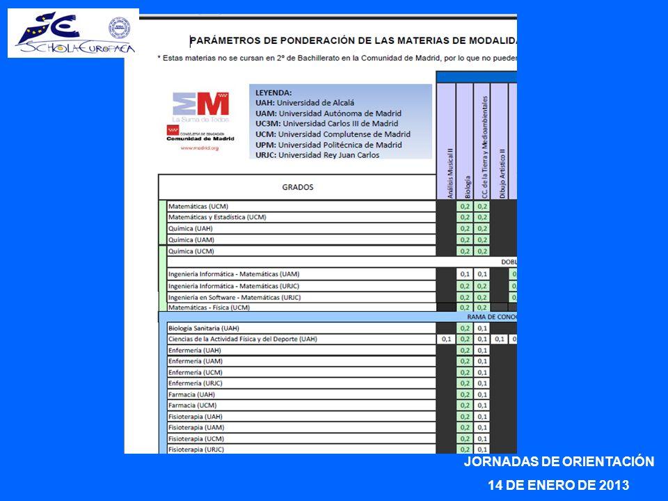 JORNADAS DE ORIENTACIÓN 14 DE ENERO DE 2013