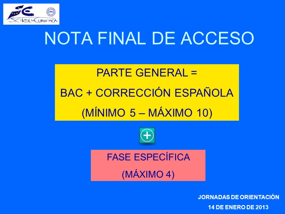 JORNADAS DE ORIENTACIÓN 14 DE ENERO DE 2013 NOTA FINAL DE ACCESO PARTE GENERAL = BAC + CORRECCIÓN ESPAÑOLA (MÍNIMO 5 – MÁXIMO 10) FASE ESPECÍFICA (MÁXIMO 4)