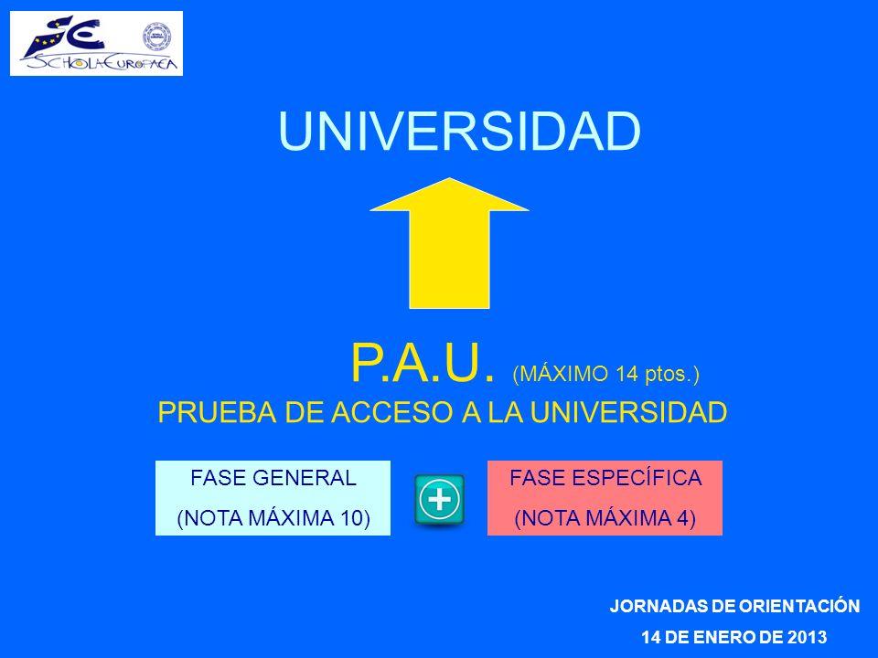 JORNADAS DE ORIENTACIÓN 14 DE ENERO DE 2013 UNIVERSIDAD P.A.U. (MÁXIMO 14 ptos.) PRUEBA DE ACCESO A LA UNIVERSIDAD FASE GENERAL (NOTA MÁXIMA 10) FASE