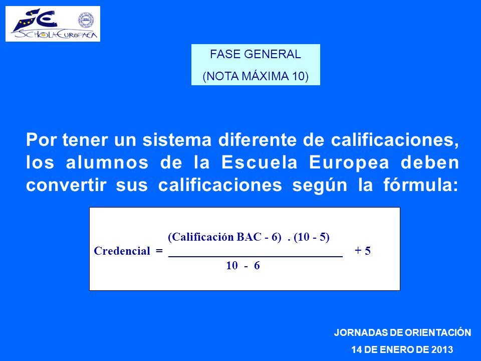 Por tener un sistema diferente de calificaciones, los alumnos de la Escuela Europea deben convertir sus calificaciones según la fórmula: JORNADAS DE O