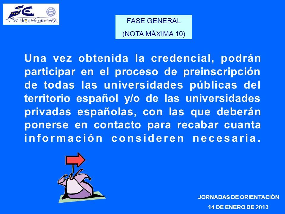 Una vez obtenida la credencial, podrán participar en el proceso de preinscripción de todas las universidades públicas del territorio español y/o de la