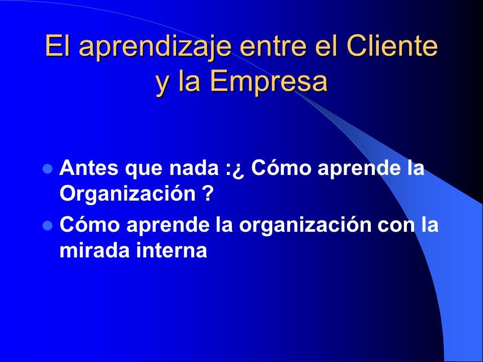 El aprendizaje entre el Cliente y la Empresa Antes que nada :¿ Cómo aprende la Organización ? Cómo aprende la organización con la mirada interna