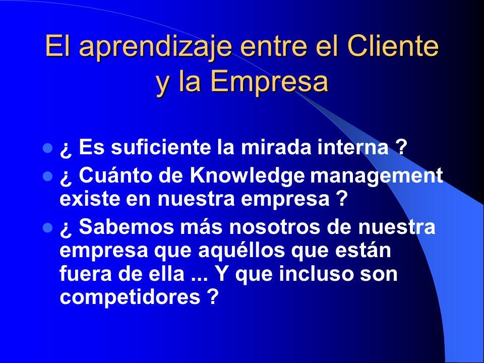El aprendizaje entre el Cliente y la Empresa ¿ Es suficiente la mirada interna ? ¿ Cuánto de Knowledge management existe en nuestra empresa ? ¿ Sabemo