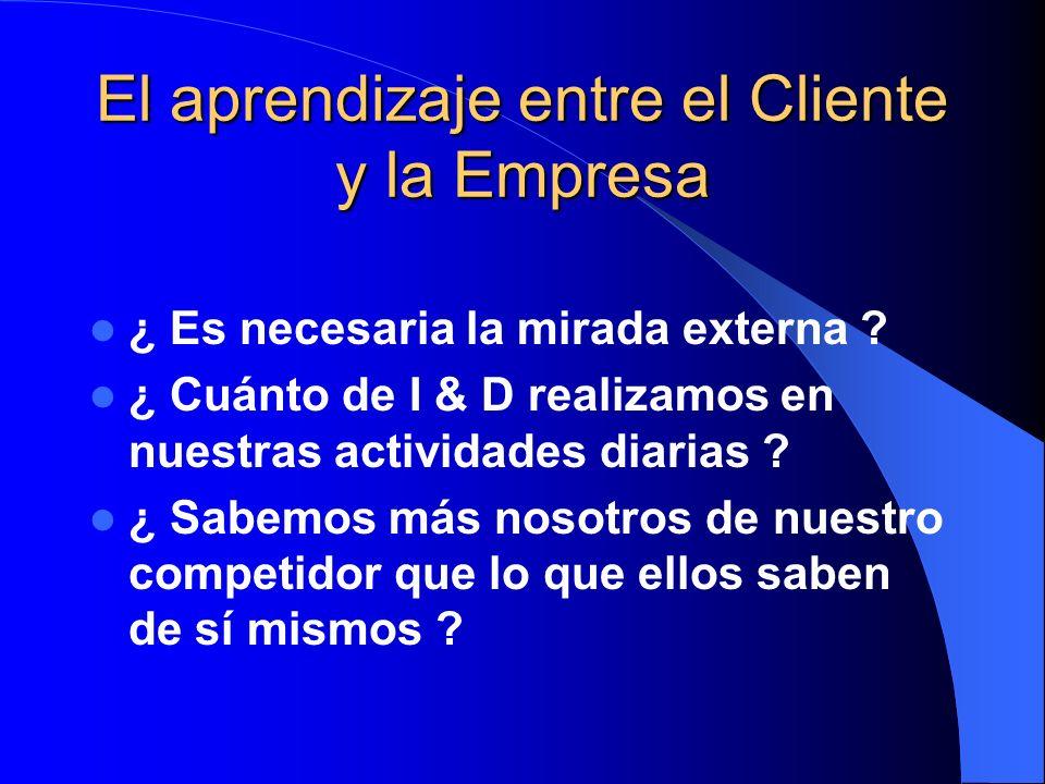 El aprendizaje entre el Cliente y la Empresa ¿ Es necesaria la mirada externa ? ¿ Cuánto de I & D realizamos en nuestras actividades diarias ? ¿ Sabem