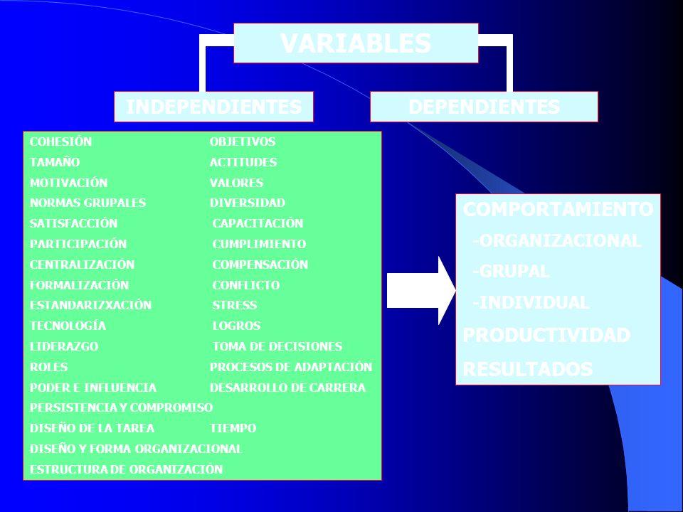 VARIABLES INDEPENDIENTESDEPENDIENTES COHESIÓN OBJETIVOS TAMAÑO ACTITUDES MOTIVACIÓN VALORES NORMAS GRUPALES DIVERSIDAD SATISFACCIÓN CAPACITACIÓN PARTI