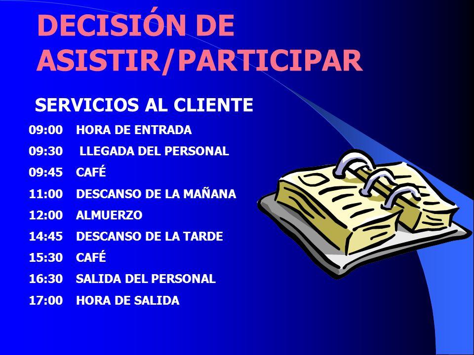 DECISIÓN DE ASISTIR/PARTICIPAR SERVICIOS AL CLIENTE 09:00 HORA DE ENTRADA 09:30 LLEGADA DEL PERSONAL 09:45CAFÉ 11:00DESCANSO DE LA MAÑANA 12:00ALMUERZ