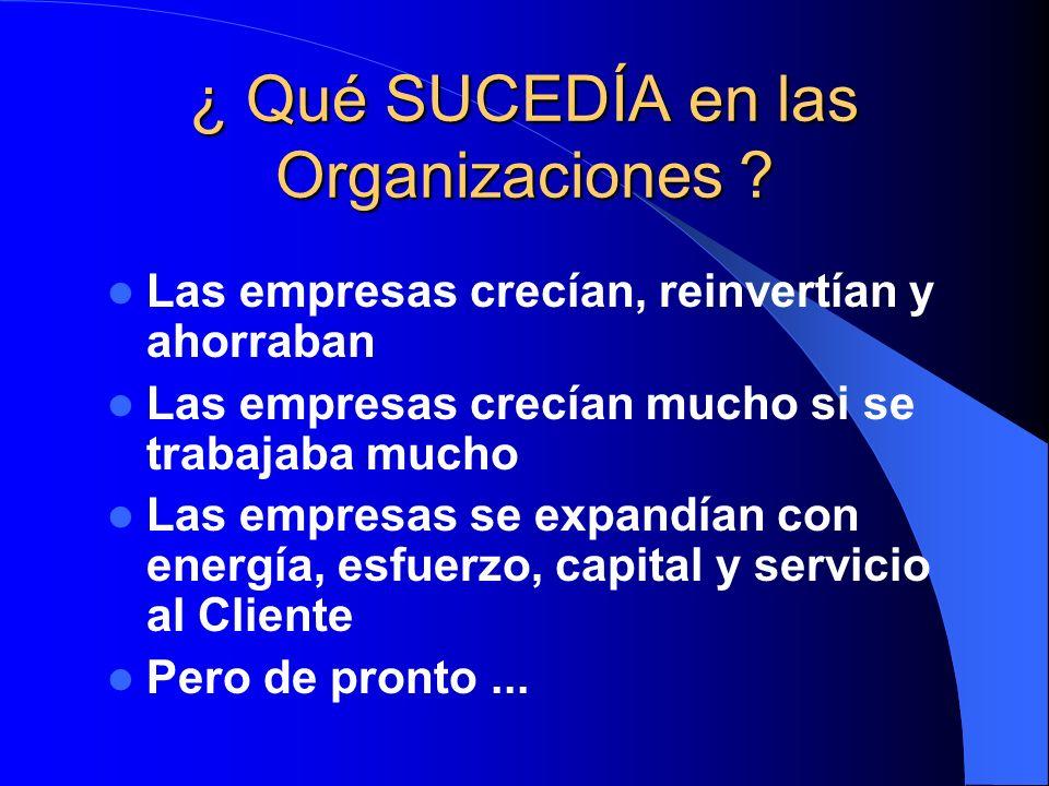 ¿ Qué SUCEDÍA en las Organizaciones ? Las empresas crecían, reinvertían y ahorraban Las empresas crecían mucho si se trabajaba mucho Las empresas se e