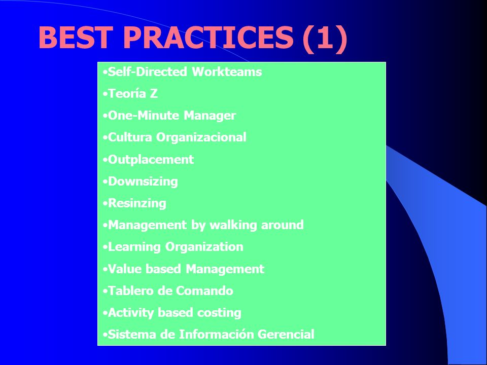 BEST PRACTICES (1) Self-Directed Workteams Teoría Z One-Minute Manager Cultura Organizacional Outplacement Downsizing Resinzing Management by walking