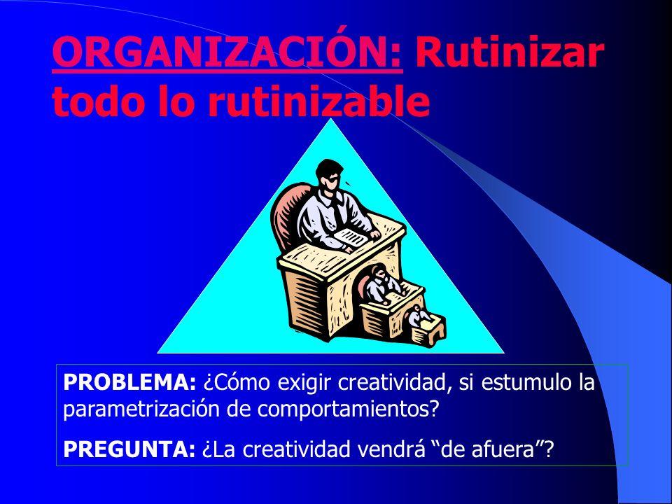 ORGANIZACIÓN: Rutinizar todo lo rutinizable PROBLEMA: ¿Cómo exigir creatividad, si estumulo la parametrización de comportamientos? PREGUNTA: ¿La creat