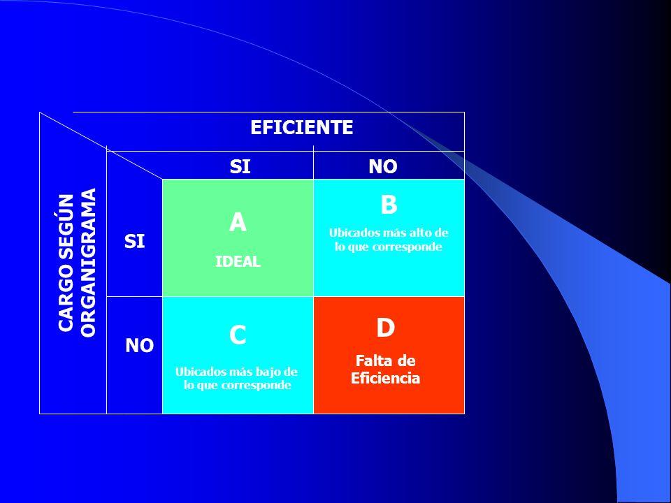 A IDEAL C Ubicados más bajo de lo que corresponde EFICIENTE CARGO SEGÚN ORGANIGRAMA B Ubicados más alto de lo que corresponde D Falta de Eficiencia SI