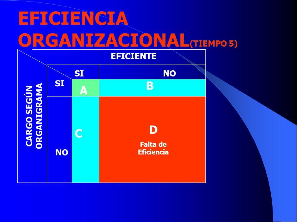 C EFICIENTE CARGO SEGÚN ORGANIGRAMA B D Falta de Eficiencia SINO SI NO EFICIENCIA ORGANIZACIONAL (TIEMPO 5) A